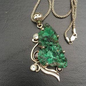 Malachite natural stone Necklace Silver Chain
